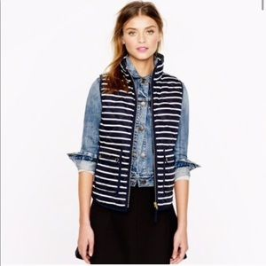 J. Crew Navy Striped Quilted Excursion Puffer Vest